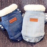 Luxury Dog Jean Jacket for Small Dog Pet Clothes Outfits Denim Coat Jeans Costume Pet Clothing FREE SHIPPING