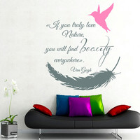 Feather Wall Decals Humming-bird Wall Quotes Words If You Truly Love Nature Home Art Vinyl Decal Sticker Kids Nursery Baby Room Decor kk773