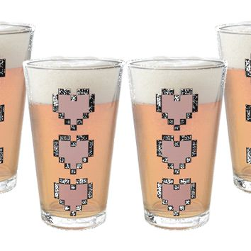 Power-Up Heart Pint Glass 4-Pack