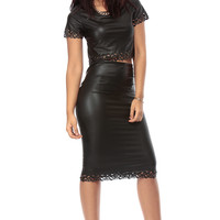 Black and Fierce Faux Leather Crop Top