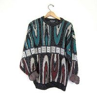 Vintage abstract retro sweater. Oversized 90s Cosby sweater. Boho Tribal knit pullover Jumper. men's size Large
