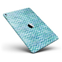 """Aqua Basic Watercolor Chevron Pattern Full Body Skin for the iPad Pro (12.9"""" or 9.7"""" available)"""
