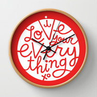 I Love Your Everything (red bkgnd) Wall Clock by Gigglebox