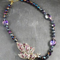 Vintage Upcycled Purple Leaf Necklace with Czech Crystals Gifts for her | BellaSweet - Jewelry on ArtFire