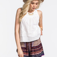 PATRONS OF PEACE Lace & Eyelet Split Back Womens Top   Blouses