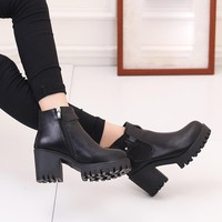 autumn winter  boots for women Women Boots Square Heel Platforms Thigh High Pump Boots Motorcycle Shoes #NFA