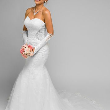 Juliet 348  White Mermaid Style Wedding Gown With Sheer Side Cut Out