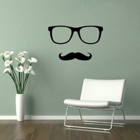 Housewares Vinyl Decal Sign Hipster Mustache Man Home Wall Art Decor Removable Stylish Sticker Mural Unique Design for Any Room