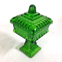 Vintage Art Deco Emerald Green Stained Glass Pedestal Candy Dish Eclectic Vanity Decor Unique Jewelry Dish Stash Box Glass Keepsake Box