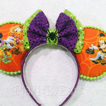 """Halloween Not So Scary """"Mickey/Minnie Trick or Treat"""" Custom Mouse Ears"""