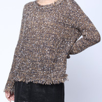 'The Tealia' Gray  Long Sleeve Tasseled Knitted Pullover
