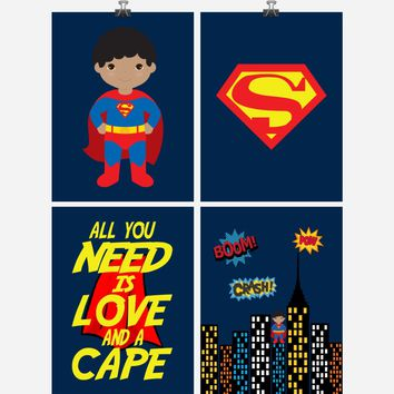 African American Superhero Set of 4 Wall Art Prints - Superman, All You Need Is Love And A Cape - Nursery, Playroom or Kids Room Decor