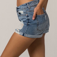 SKY AND SPARROW Roll Cuff Ripped Womens Denim Mom Shorts