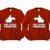 Best Friends Forever Cartoon Hands Girl BFFS Sweatshirts