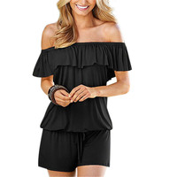 Sexy Off Shoulder Womens Playsuit Summer Style Beach Short Sleeve Ruffles Jumpsuit Romper Women Drawstring Waist Short Overalls