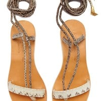 Rio Wrap Around Tie Sandals  - Bone White