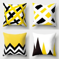 2018 new yellow theme cushion covers soft polyester cushion cover for home sofa bedding room decor 45*45cm cussin pillow cover