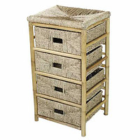 """18'.5"""" X 15'.25"""" X 32'.5"""" Natural Bamboo Storage Cabinet with  Baskets"""