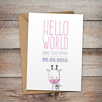 Personalised Greetings Card, New Baby, Hello World