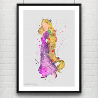 Rapunzel Tangled Disney Watercolor Art Print, Princess Room Wall Poster, Minimalist Home Decor, Not Framed, Buy 2 Get 1 Free! [No. 86]