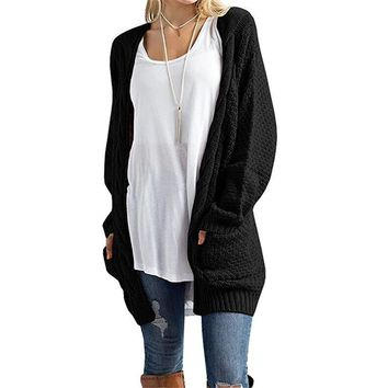 Women's Open Front Long Sleeve Casual Cable Knit Chunky Cardigan Sweaters