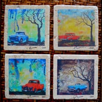 Fine Art Coasters, set of 4, Classic Chevy's, drink coaster, Chevrolet cars, bel air, apache, stone, classic cars, 1950's, car, truck