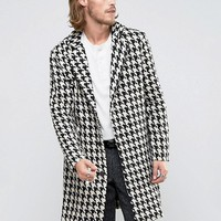 Reclaimed Vintage Overcoat In Hounds Tooth With Raw Hem at asos.com