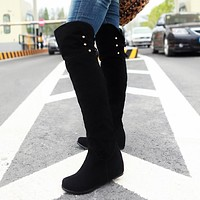 Flock Studded Platform Wedge Tall Boots 9068