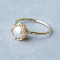 Pearl Gold Ring, Pearl Stack Ring, Crochet Gold Wire, Wire Crochet Ring, Ready To Ship Size 7 7.5 8