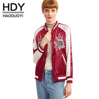 HDY Haoduoyi Fashion Floral Embroidery Coats Women Long Sleeve Female Zippers Outwear Red O-neck Casual Bomber Jackets