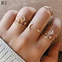 Fashion Vintage For Women Adjustable Geometry Crystal Opal Star Moon Sun Ring Mix Set Rings Female Party Jewelry Gift