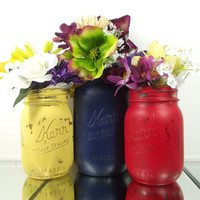Colored Mason Jars, Rustic Home Decor, Mason Jar Vase Set, Hand Painted Jars, Wedding Decor, Country Decor, Decorative Mason Jars
