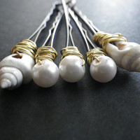 Beach Hair- Blonde- White- Sea Shells- Glass Pears- Gold- Wire-wrapped- Beaded Bobby Pins- Summer Hair Fashion Accessory- Gift for Woman