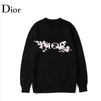 DIOR Fashion New Letter Floral Women Men Leisure Long Sleeve Top Sweater Black