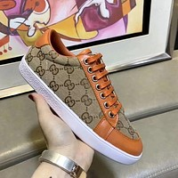 GUCCI Simple Men's and Women's Wild Fashion Canvas Low-Top Sneakers Shoes