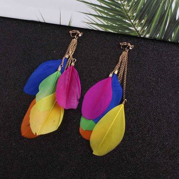JIOFREE Bohemia Fashion Jewelry multicolou Feather Clip on Earrings Non Piercing for Women Long Tassel Feather Earrings