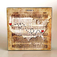Personalized Hearts Map Patriotic Wedding Custom Wedding Gift America Song Art Block State Love Art Location Heart Map Patriotic Art Map Art