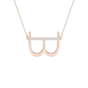 10k Rose Gold Round Diamond Initial B Letter Necklace 1/20 Cttw