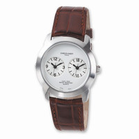 Mens Charles Hubert Leather Band Dual Time Watch