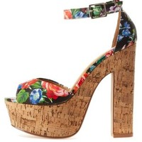 Cork & Floral Chunky Heel Sandals by Charlotte Russe
