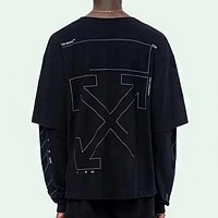 OFF WHITE hot selling pure color incomplete sketch T-shirt cotton long sleeve hoodie fashion casual couple tops Black