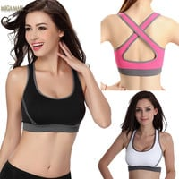 Women Sexy Running Yoga Seamless Racerback Back Cross Sports Bra Half-length Underwear Fitness Clothes Tennis Vest Camisole P96