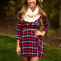 On My Way Flannel Dress - Red