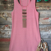 Let's Have Some Fun Striped Tank Dress: Red