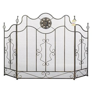 Fireplace Screen with Circular Ornament