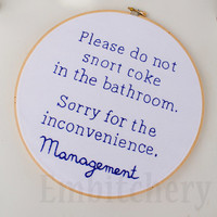 Don't Snort Coke - Funny Bathroom - Snarky Cross Stitch - Snarky Embroidery - Funny Bathroom Art - Funny Cross Stitch -  Snarky Xstitch