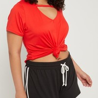 Plus Red Super Soft V Cutout Tee