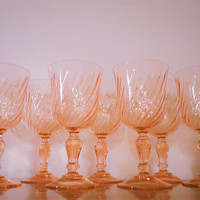 8 Rosaline Pink Swirl Optic Water Goblets, Cristal D'Arques-Durand Made in France Wine Glasses, Vintage Pink Depression Glass Stemware