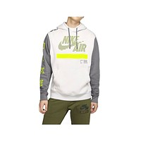 Nike Men's Under Construction Club Fleece Hoodie Gray Neon