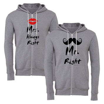 mr. right mrs. always right matching couple zipper hoodie